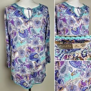 ATHLETA Tunic Top, Purple Blue Paisley, XS